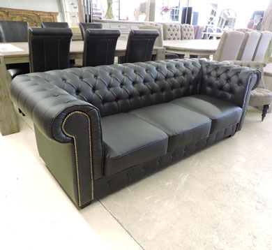 cuir chesterfield 3 places occasion vends canap cuir. Black Bedroom Furniture Sets. Home Design Ideas