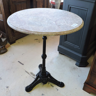Pied de table bistrot table de bistrot fer forg et - Table bistrot marbre ronde pied fonte ...