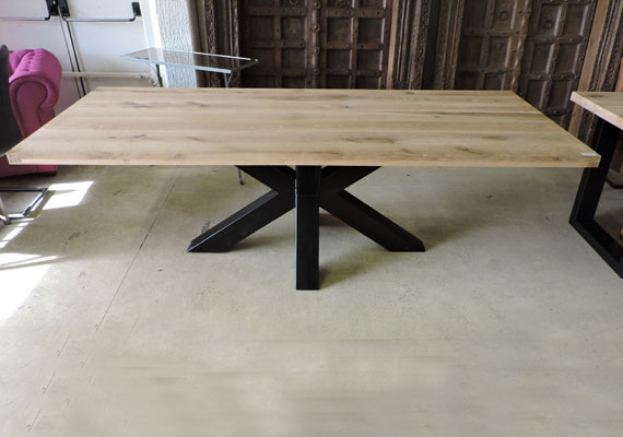 Les tables for Table chene et metal