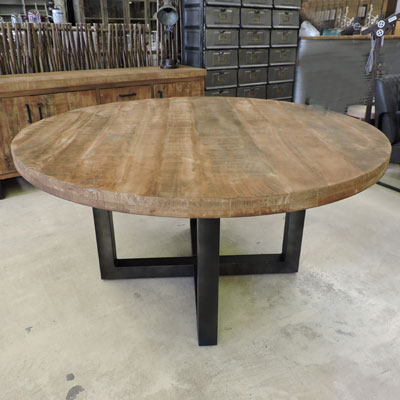 Les tables for Table ronde bois metal