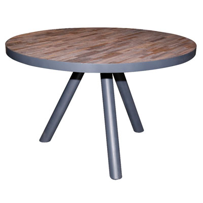 table_ronde_lattes_teck_pieds_metal_gris